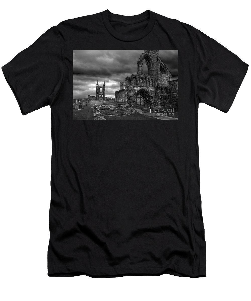 Ruins Men's T-Shirt (Athletic Fit) featuring the photograph St Andrews Cathedral And Gravestones by RicardMN Photography