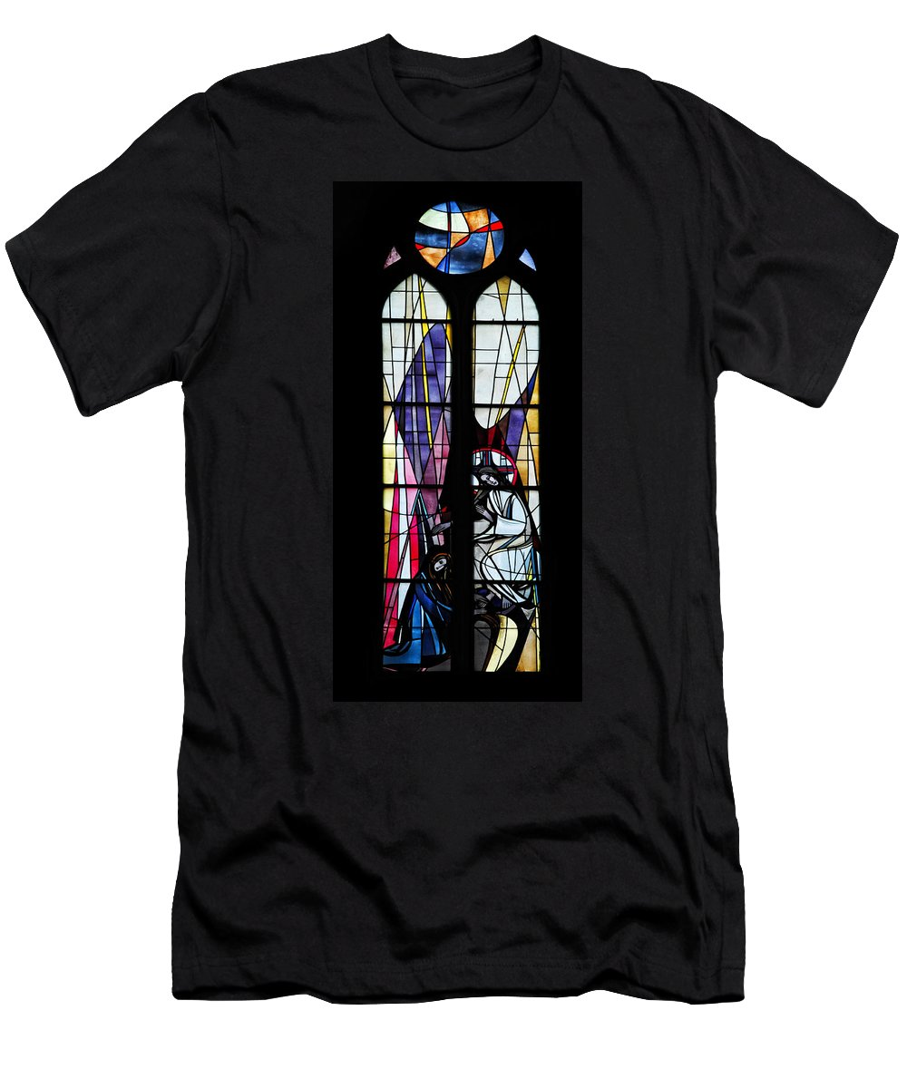 Stained Glass Window Men's T-Shirt (Athletic Fit) featuring the photograph Stained Glass Window by Dave Mills
