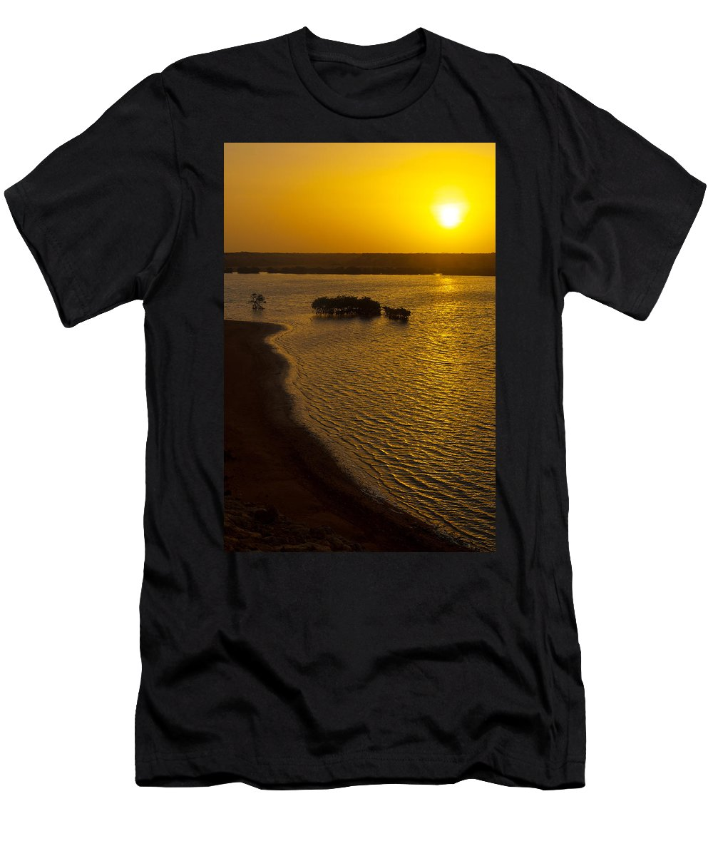 Sun Men's T-Shirt (Athletic Fit) featuring the photograph Sunrise And Mangrove Trees by Jess Kraft