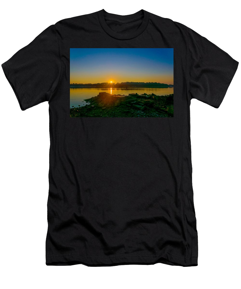 Dnieper Men's T-Shirt (Athletic Fit) featuring the photograph Sunrise On The River by Alain De Maximy