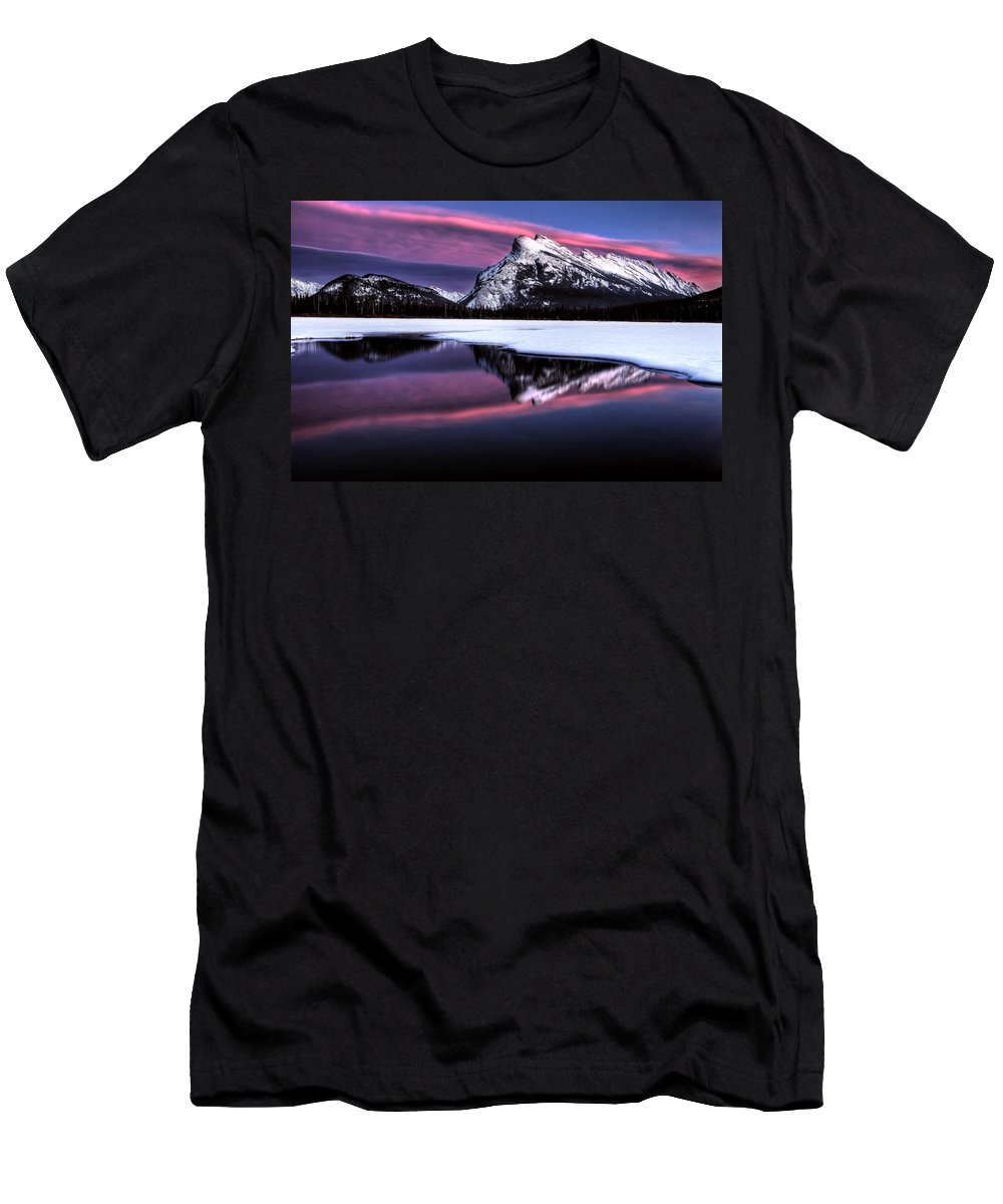 Lake Men's T-Shirt (Athletic Fit) featuring the photograph Sunset Mount Rundle by Mark Duffy