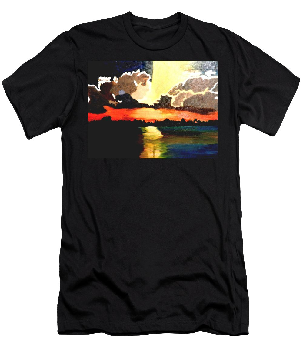 Sunshine Men's T-Shirt (Athletic Fit) featuring the painting Sunset On The Island by Jo-Ann Hayden