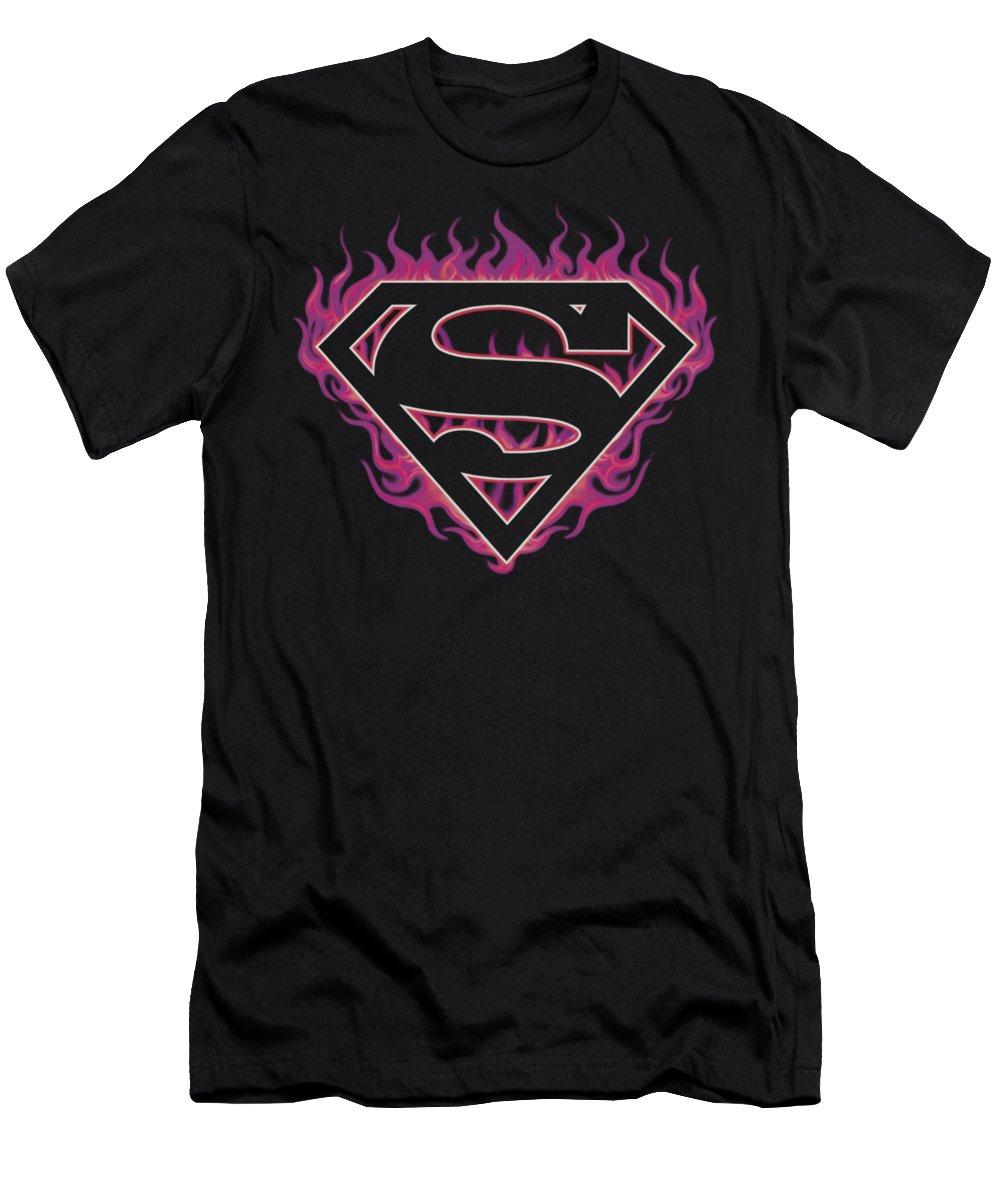 Superman T-Shirt featuring the digital art Superman - Fuchsia Flames by Brand A
