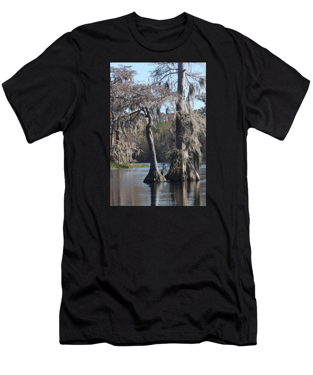 Swamp Men's T-Shirt (Athletic Fit) featuring the photograph Swampreflection by Christiane Schulze Art And Photography
