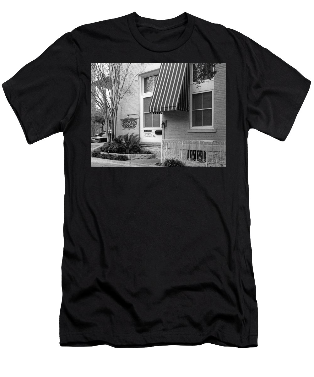 Austin Scenes Men's T-Shirt (Athletic Fit) featuring the photograph The Cloak Room by Jim Smith