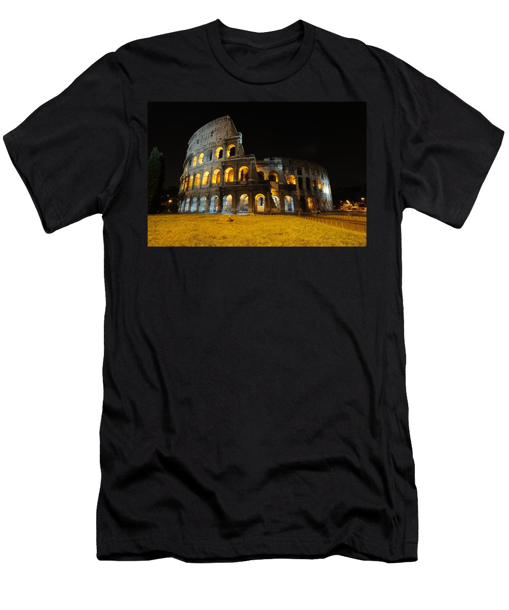 Coliseum Men's T-Shirt (Athletic Fit) featuring the photograph The Colosseum At Night by Jeremy Voisey