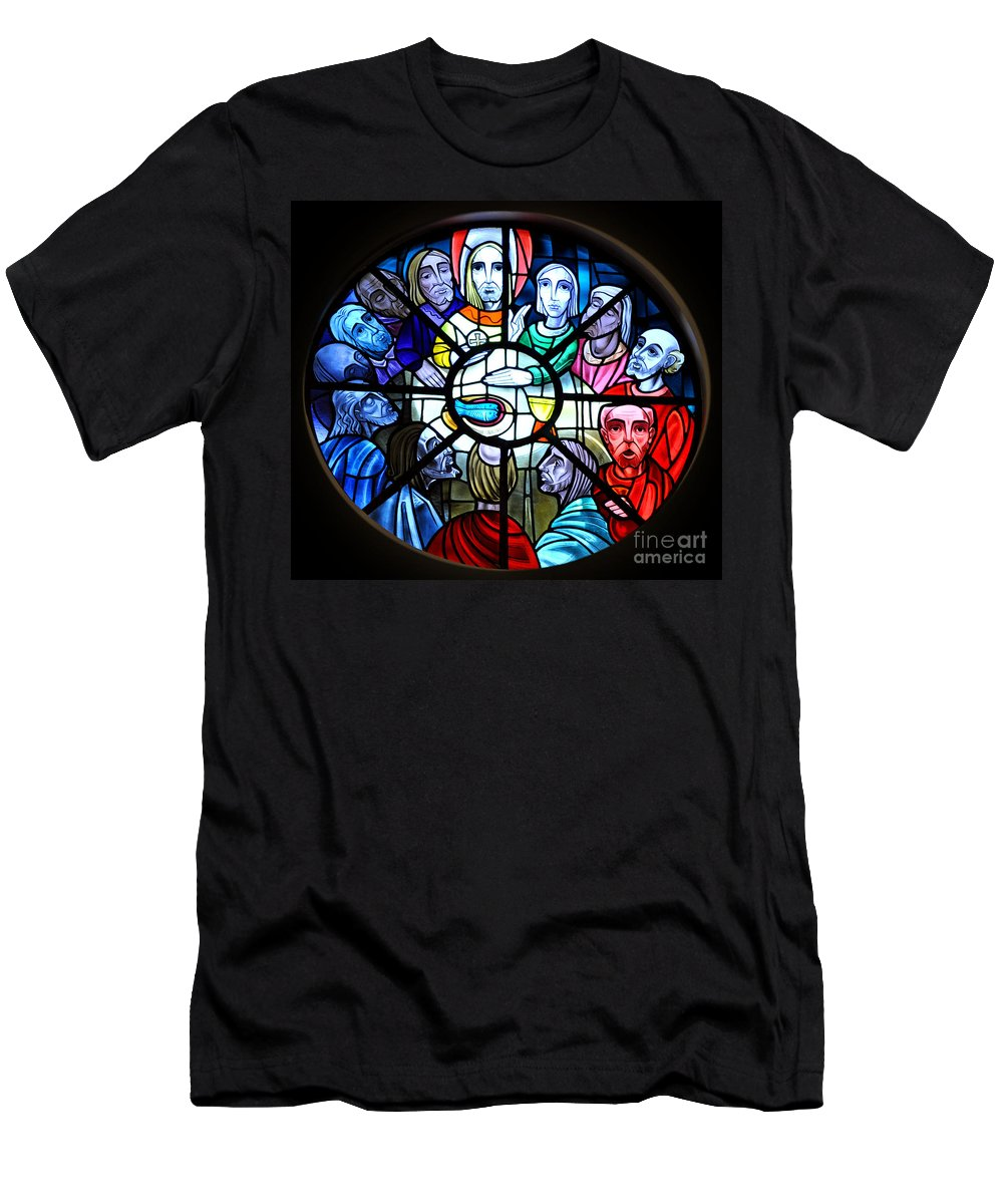 Stained Glass Men's T-Shirt (Athletic Fit) featuring the photograph The Last Supper by Savannah Gibbs