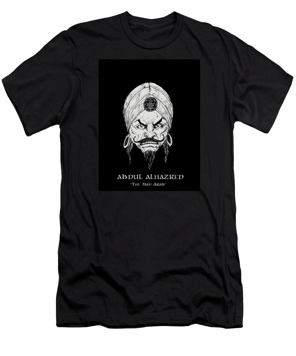 Everything Horror Men's T-Shirt (Athletic Fit) featuring the drawing The Mad Arab by Alaric Barca