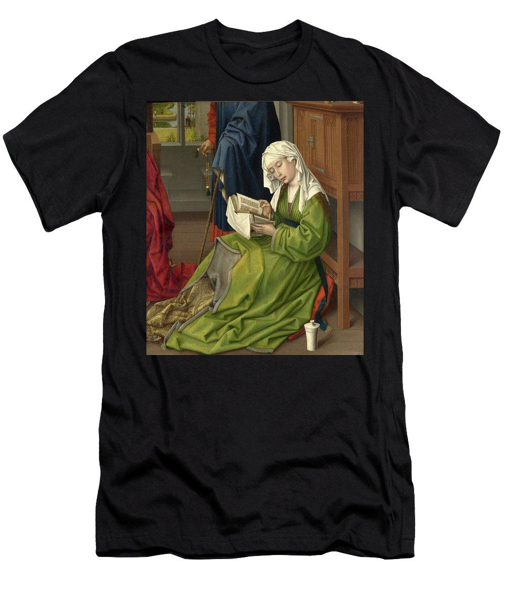 Rogier Van Der Weyden Men's T-Shirt (Athletic Fit) featuring the painting The Magdalen Reading by Rogier van der Weyden
