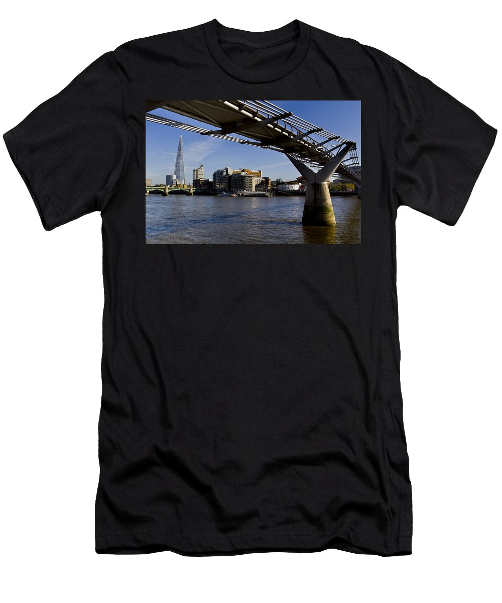 The Shard Men's T-Shirt (Athletic Fit) featuring the photograph The Millenium Bridge by David Pyatt