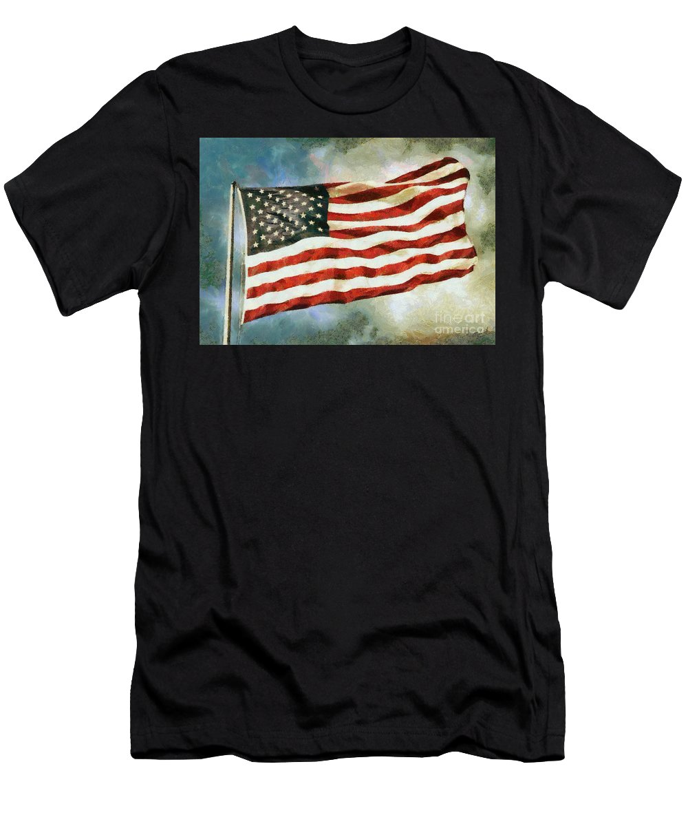 Waving American Flag Men's T-Shirt (Athletic Fit) featuring the photograph The Stars And Stripes by Nishanth Gopinathan