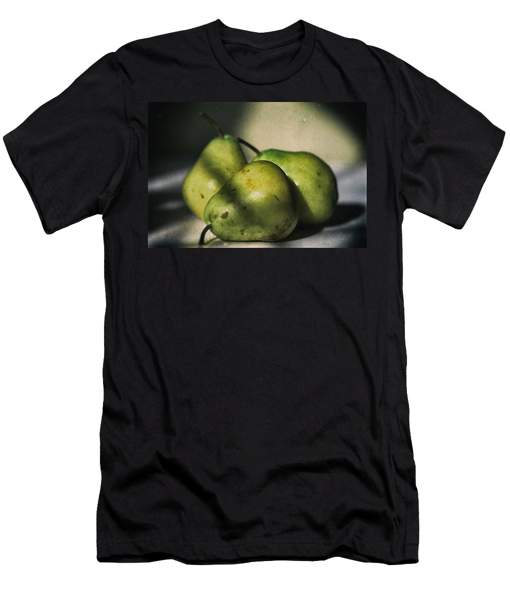 Pears Men's T-Shirt (Athletic Fit) featuring the photograph Three Pears Green by Steve Stephenson