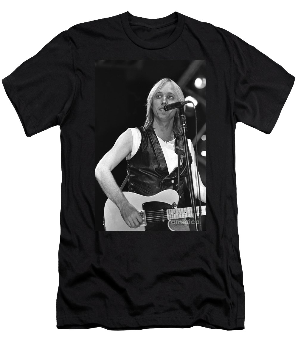 Singer Men's T-Shirt (Athletic Fit) featuring the photograph Tom Petty And The Heartbreakers by Concert Photos