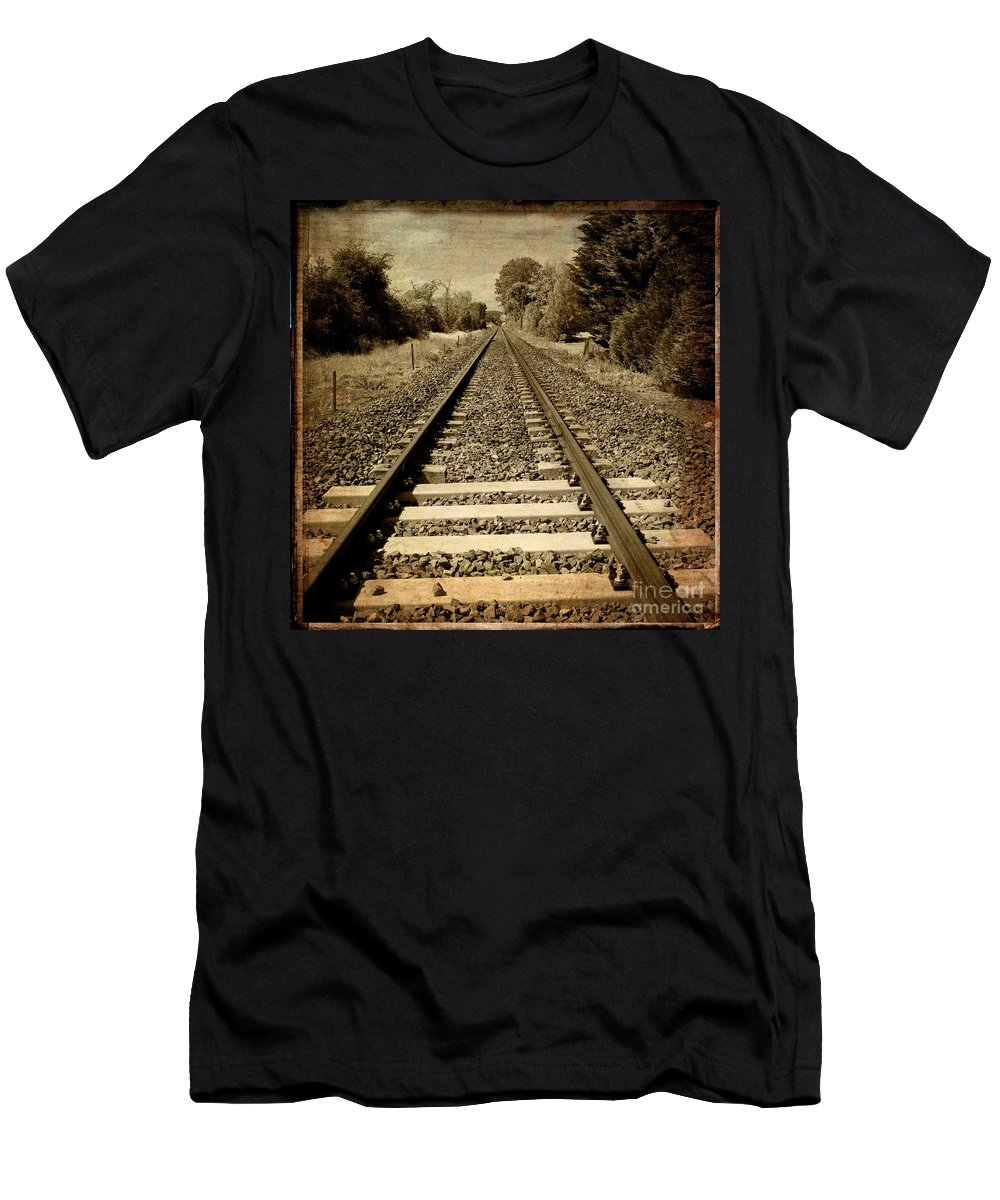 Auto Post Production Filter Men's T-Shirt (Athletic Fit) featuring the photograph Train Tracks by Bernard Jaubert