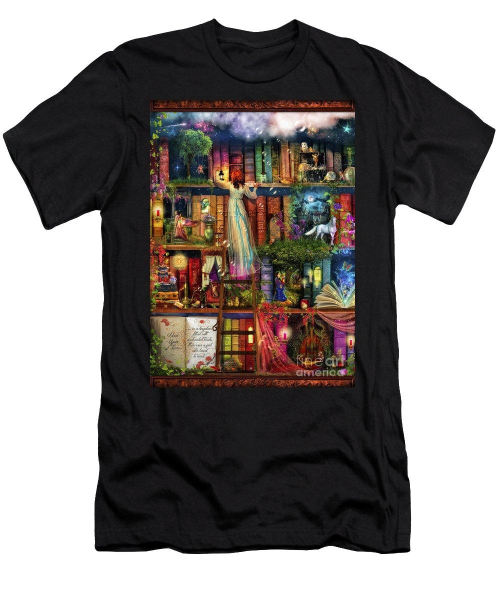 Aimee Stewart Men's T-Shirt (Athletic Fit) featuring the digital art Treasure Hunt Book Shelf 1 by MGL Meiklejohn Graphics Licensing