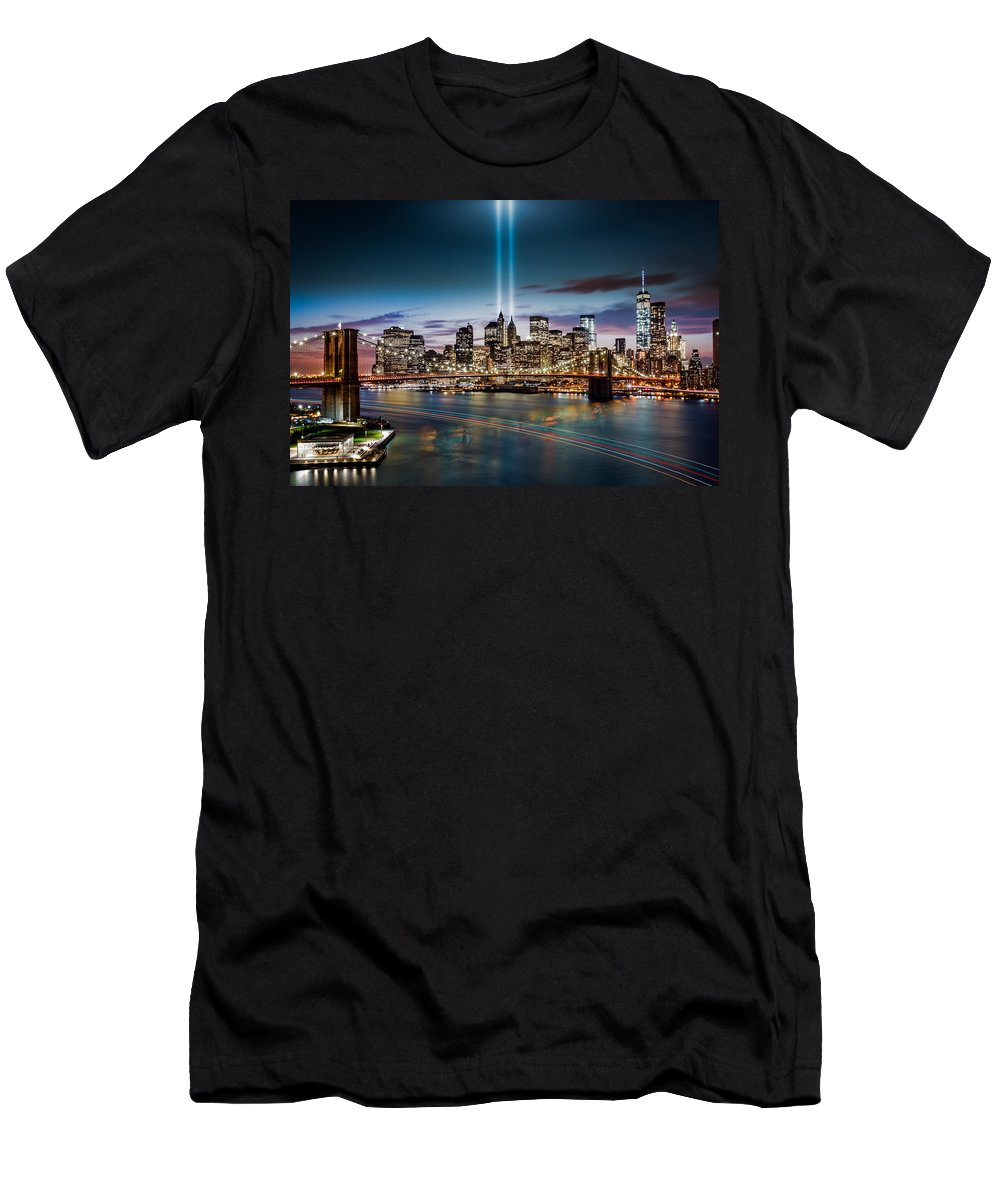 2014 Men's T-Shirt (Athletic Fit) featuring the photograph Tribute In Light Memorial by Mihai Andritoiu