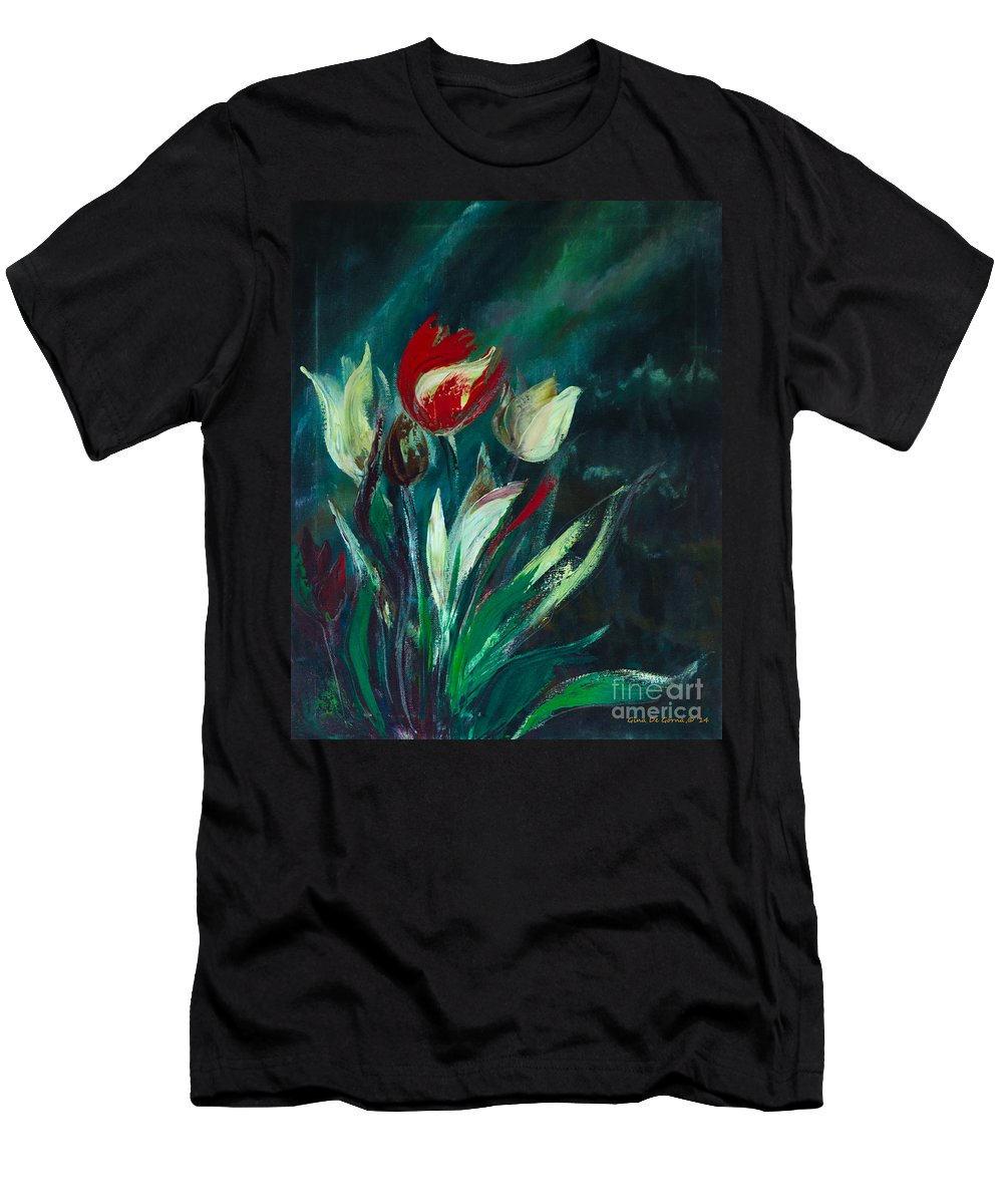 Tulips Men's T-Shirt (Athletic Fit) featuring the painting Tulips by Gina De Gorna