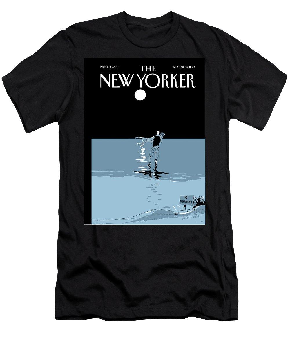 Beach T-Shirt featuring the painting No Trespassing by Istvan Banyai