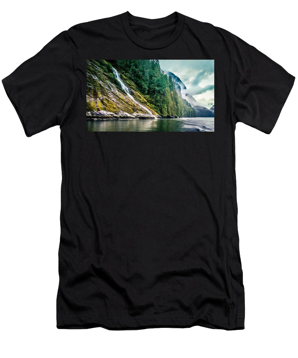 Waterfall Men's T-Shirt (Athletic Fit) featuring the photograph Waterfall Jervis Inlet by Mike Penney