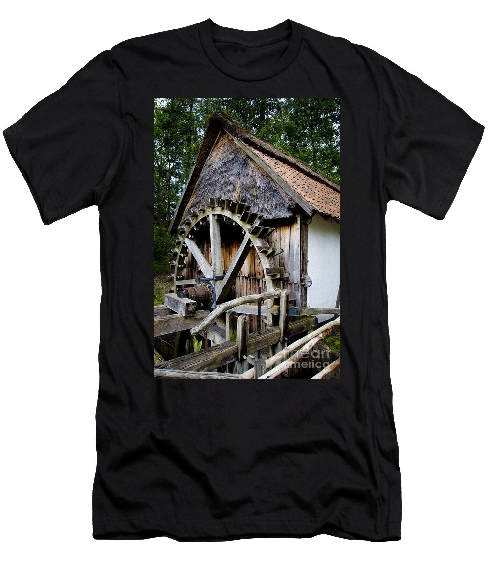 Old Watermill Men's T-Shirt (Athletic Fit) featuring the photograph Watermill by Brothers Beerens