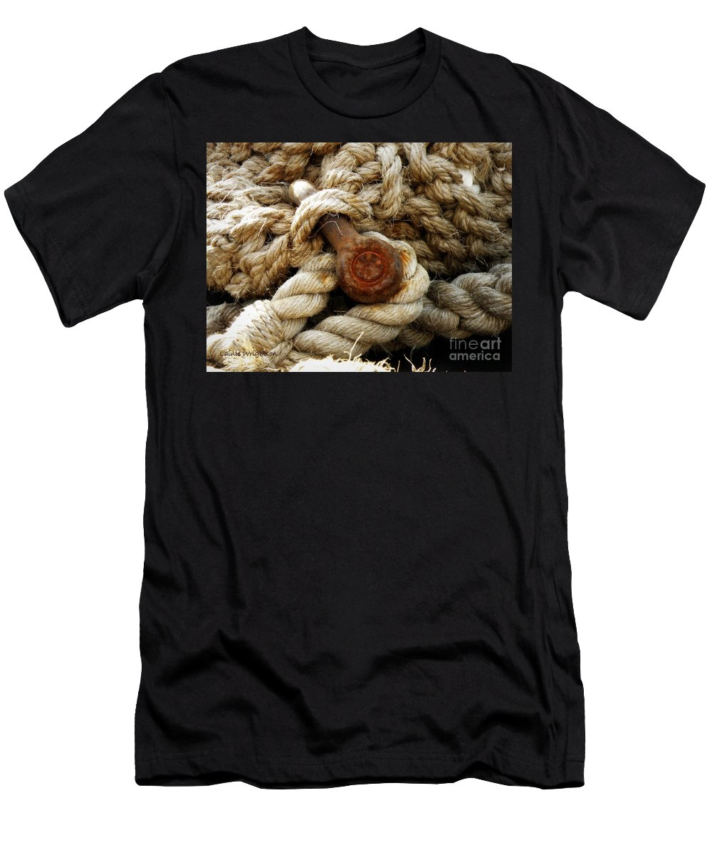 Rope Men's T-Shirt (Athletic Fit) featuring the photograph Weathered by Lainie Wrightson