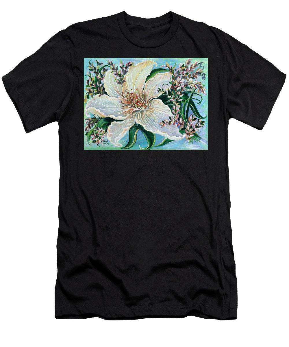 Flower And Vines Leaves Men's T-Shirt (Athletic Fit) featuring the painting White Lily by Yolanda Rodriguez