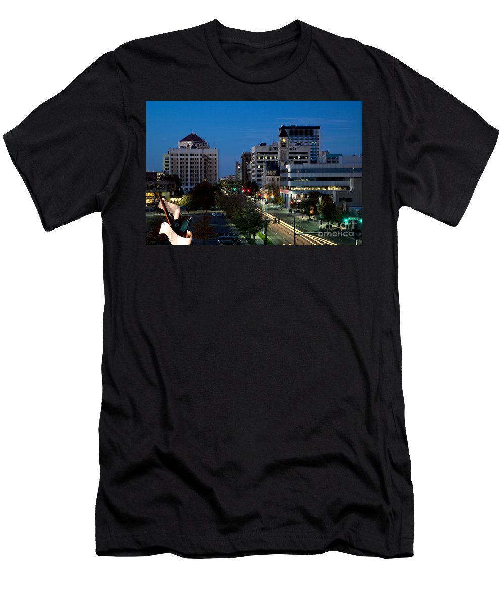 Albert Paley Men's T-Shirt (Athletic Fit) featuring the photograph Wichita Skyline At Dusk From Waterwalk by Bill Cobb