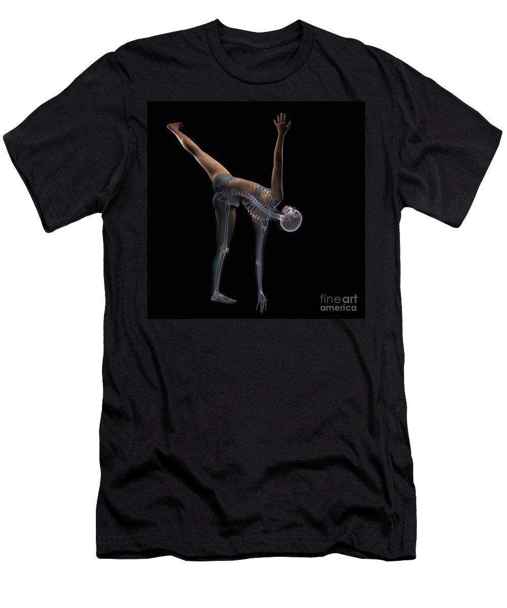 Transparency Men's T-Shirt (Athletic Fit) featuring the photograph Yoga Half Moon Pose by Science Picture Co