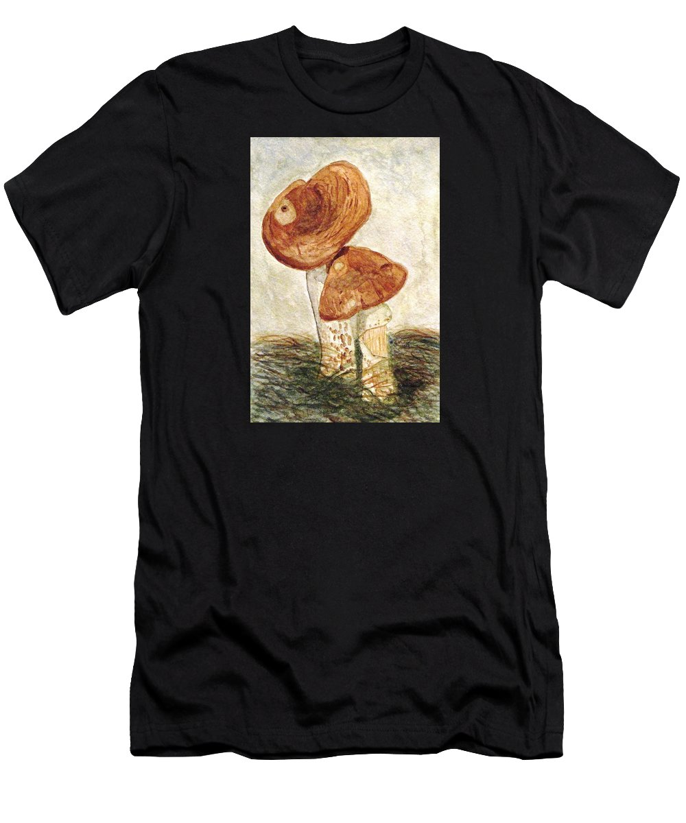Mushrooms Men's T-Shirt (Athletic Fit) featuring the painting You Can Lean On Me by Angela Davies