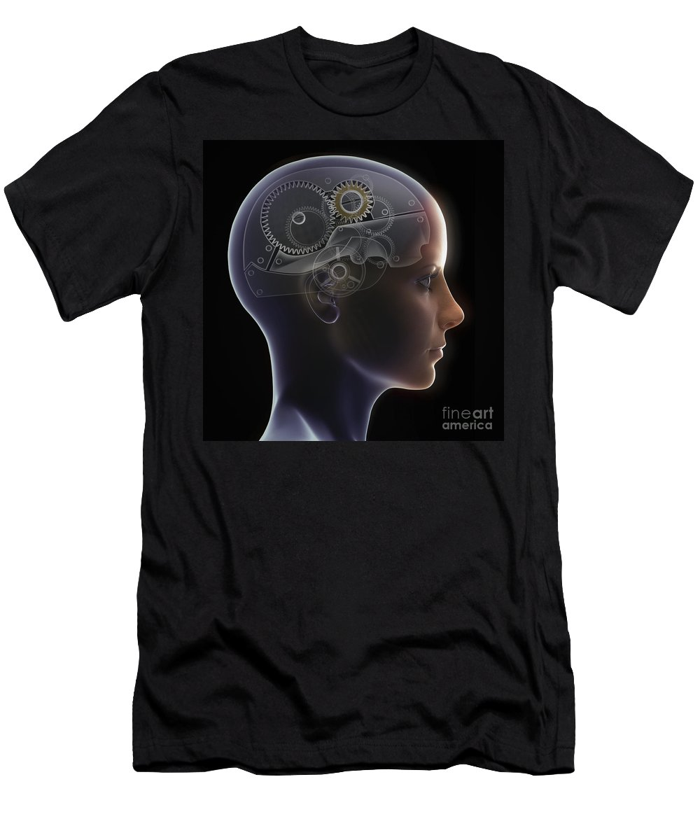 Futuristic Men's T-Shirt (Athletic Fit) featuring the photograph Thought Mechanism by Science Picture Co
