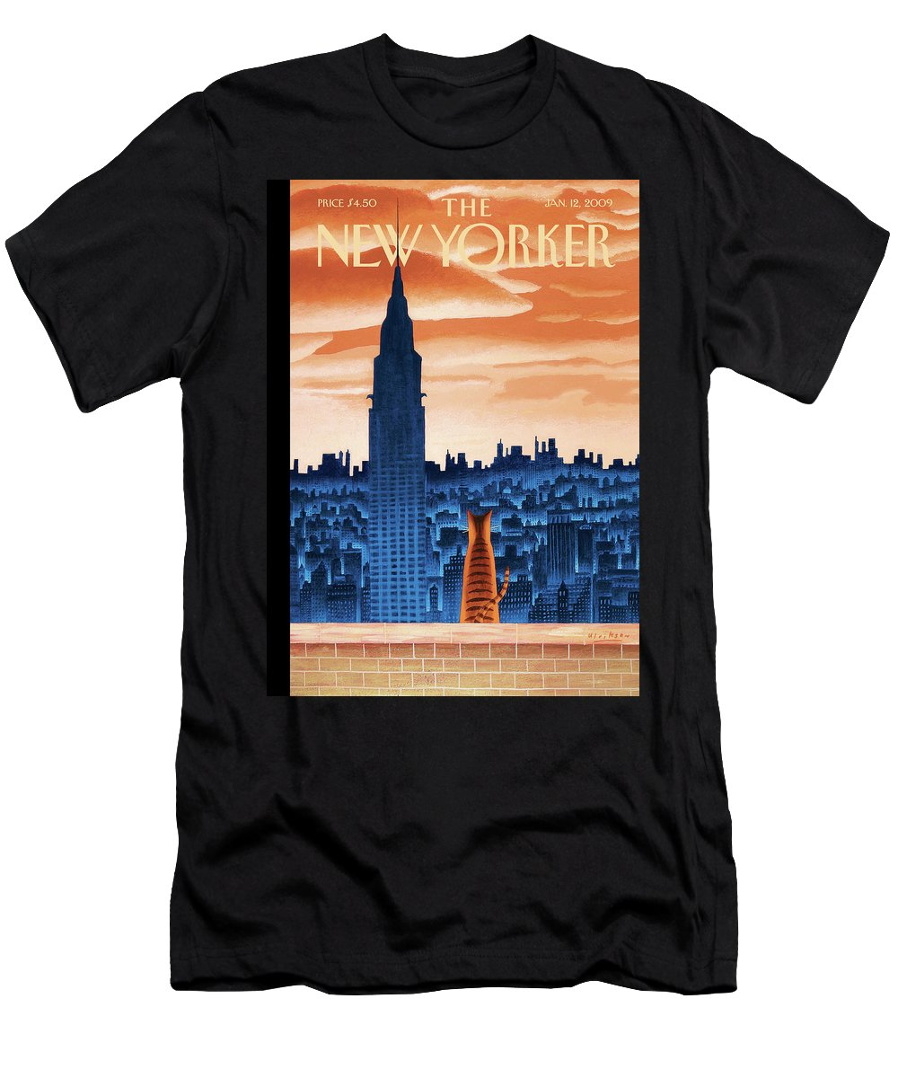 Nyc Men's T-Shirt (Athletic Fit) featuring the painting New Yorker January 12th, 2009 by Mark Ulriksen
