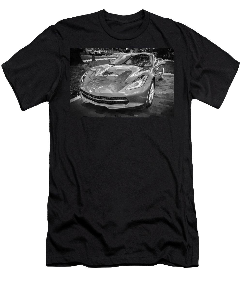 2014 Chevrolet Corvette Men's T-Shirt (Athletic Fit) featuring the photograph 2014 Chevrolet Corvette C7 Bw  by Rich Franco
