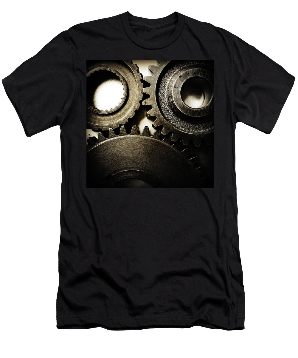 Gearing Men's T-Shirt (Athletic Fit) featuring the photograph Cogs No12 by Les Cunliffe