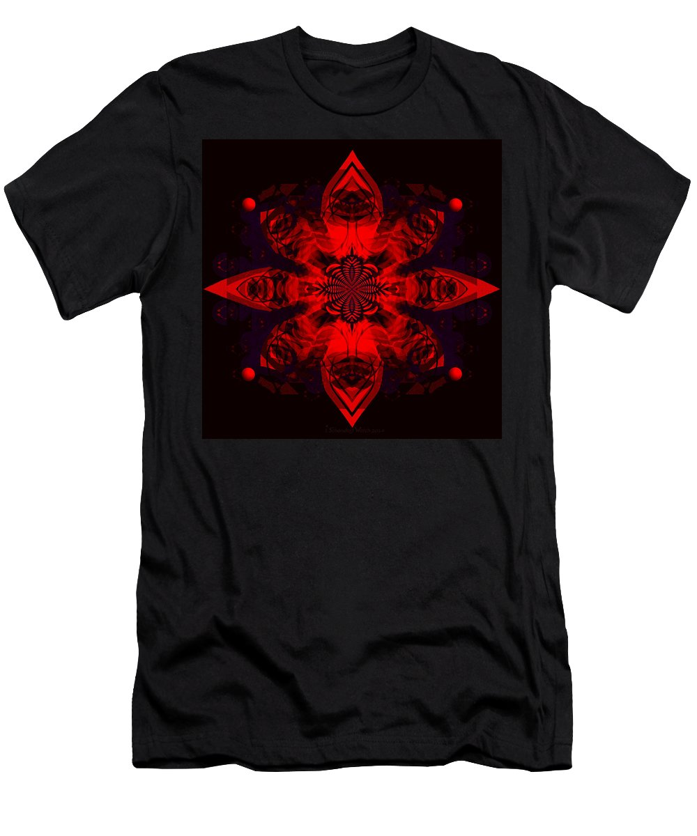 1107 Men's T-Shirt (Athletic Fit) featuring the painting 1107 - Mandala Red  by Irmgard Schoendorf Welch
