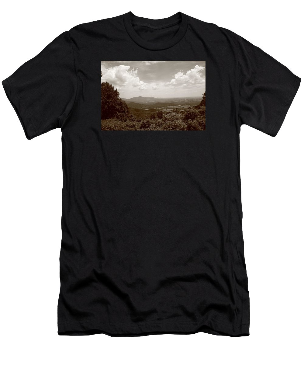 America Men's T-Shirt (Athletic Fit) featuring the photograph Blue Ridge Mountains - Virginia Sepia 8 by Frank Romeo