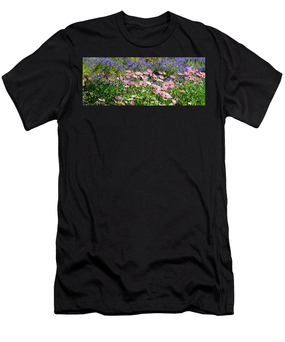 Floral Men's T-Shirt (Athletic Fit) featuring the photograph Background Of Colorful Flowers by Michael Goyberg