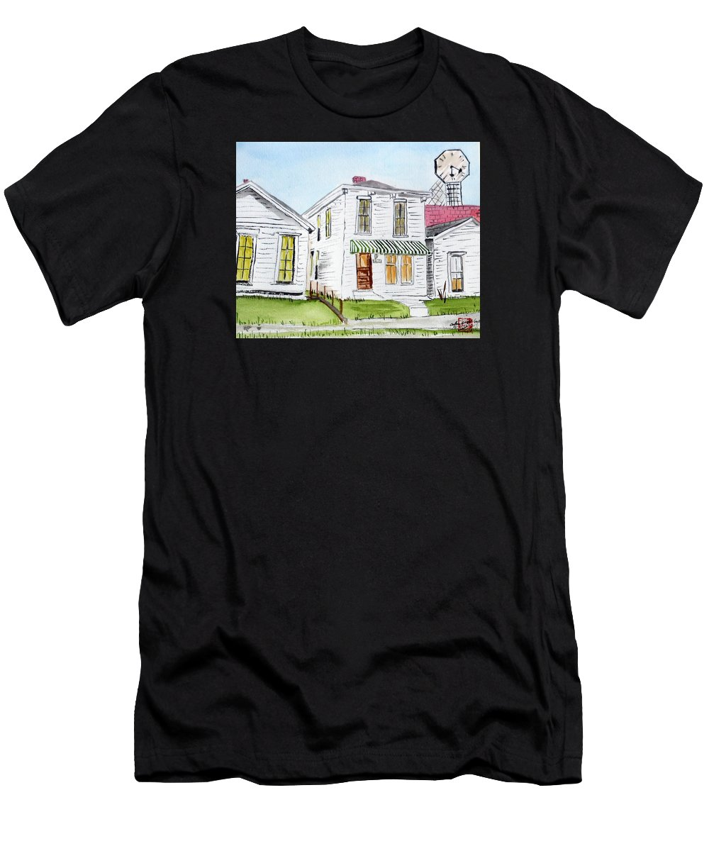 Street Scenes Men's T-Shirt (Athletic Fit) featuring the painting 1327 Woerner Ave by Arlene Wright-Correll