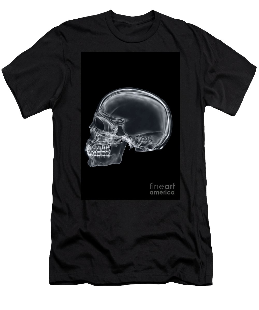 Digitally Generated Image Men's T-Shirt (Athletic Fit) featuring the photograph The Skull by Science Picture Co