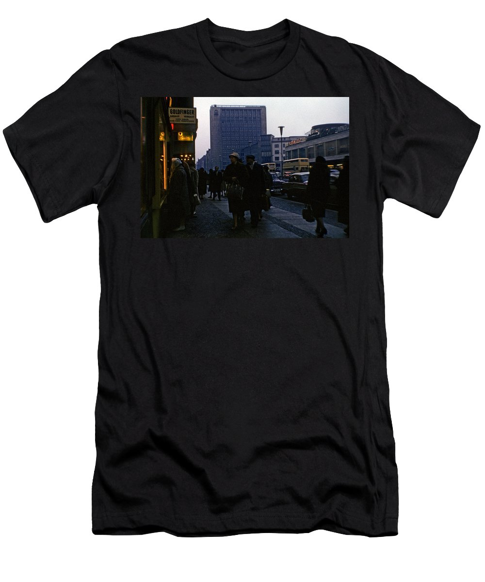 Color Image Men's T-Shirt (Athletic Fit) featuring the photograph Berlin 1961 by JP Tripp