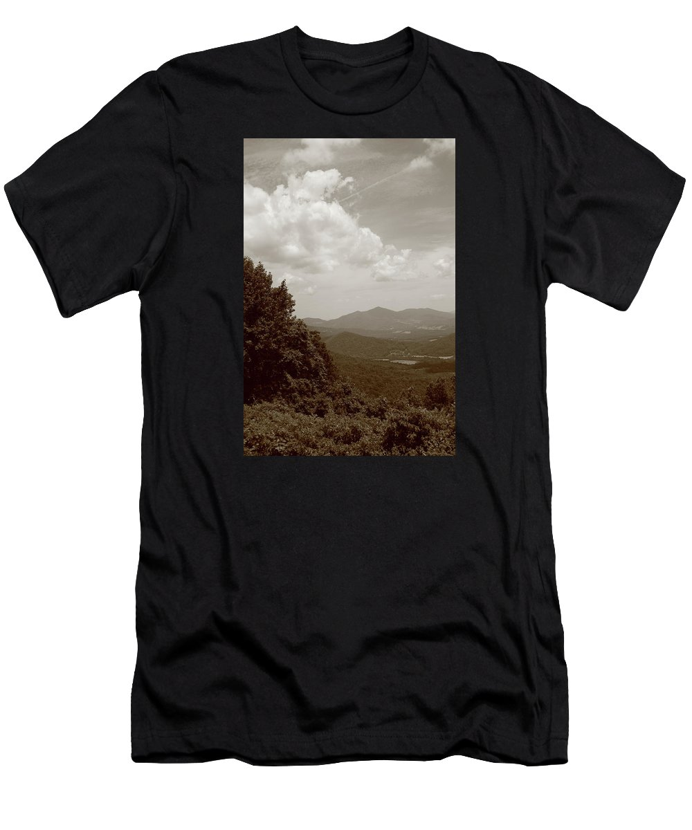 America Men's T-Shirt (Athletic Fit) featuring the photograph Blue Ridge Mountains - Virginia Sepia 7 by Frank Romeo