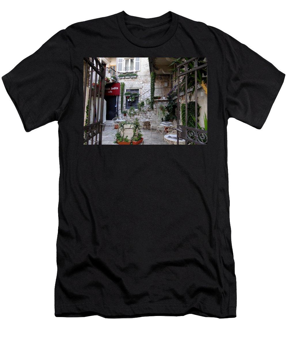 Mediterranean Men's T-Shirt (Athletic Fit) featuring the photograph Views Of Split Croatia by Richard Rosenshein
