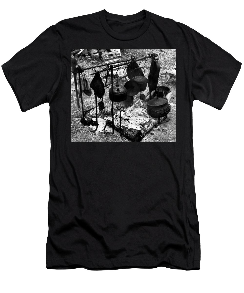 Cast Iron Men's T-Shirt (Athletic Fit) featuring the photograph 1800s Cast Iron Cooking by David Lee Thompson