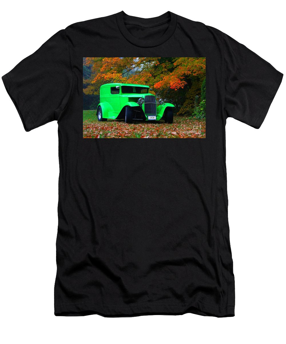 Car Men's T-Shirt (Athletic Fit) featuring the photograph 1930 Ford Sedan Delivery Truck by Davandra Cribbie