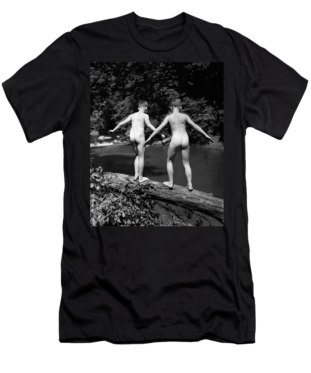 Photography Men's T-Shirt (Athletic Fit) featuring the photograph 1930s Rear View Pair Naked Skinny- by Vintage Images
