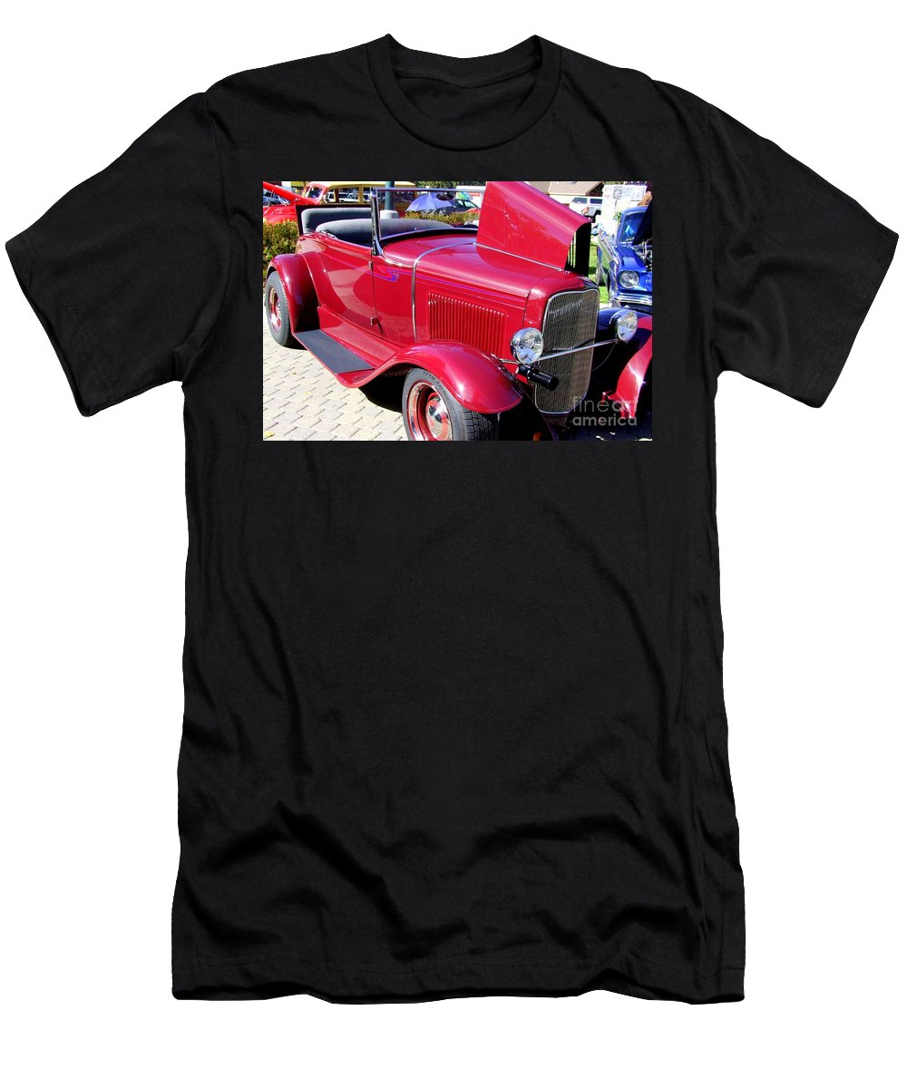 Red Cars Men's T-Shirt (Athletic Fit) featuring the photograph 1931 Ford With Rumble Seat by Mary Deal