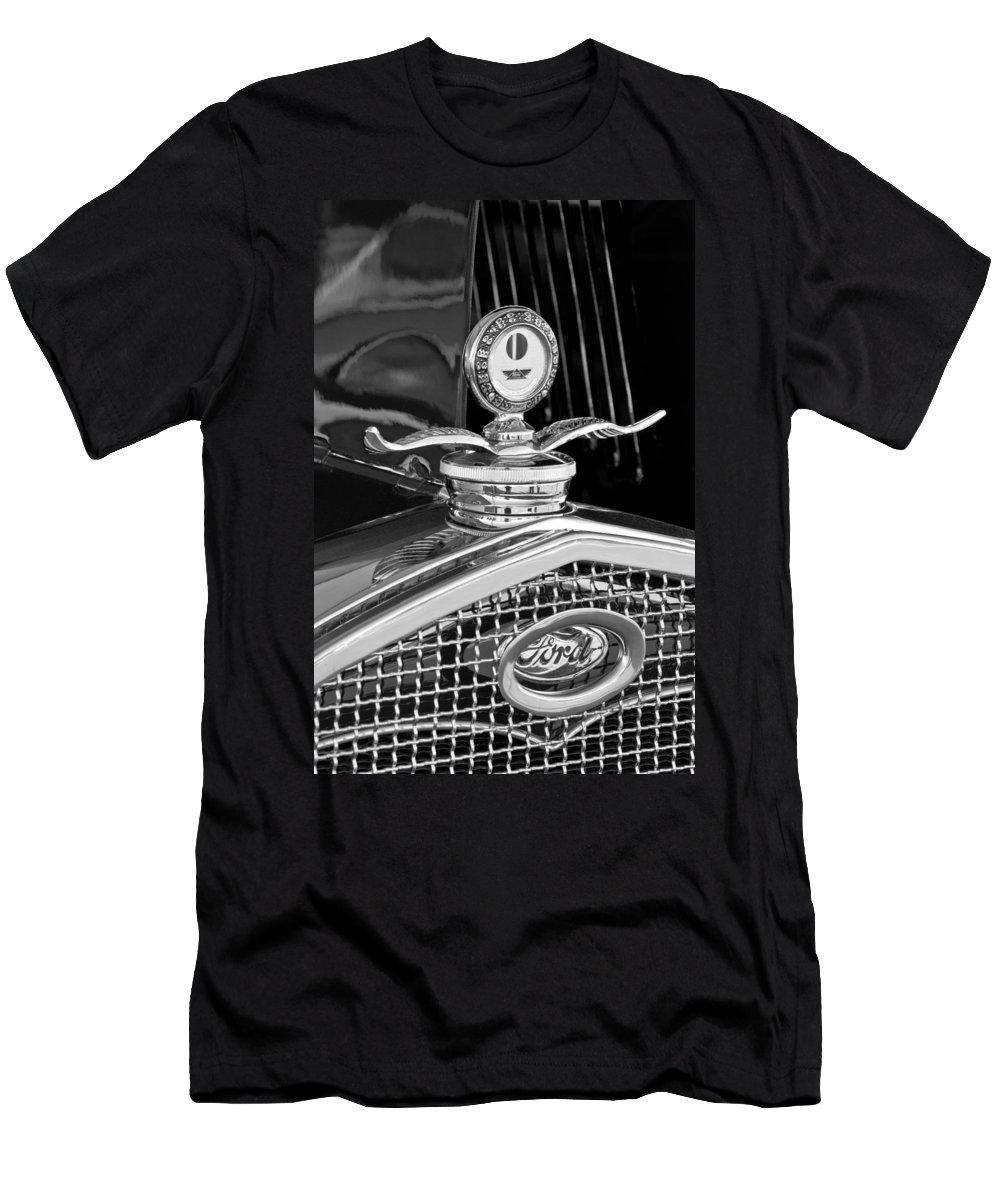 1931 Model A Ford Deluxe Roadster Men's T-Shirt (Athletic Fit) featuring the photograph 1931 Model A Ford Deluxe Roadster Hood Ornament 2 by Jill Reger