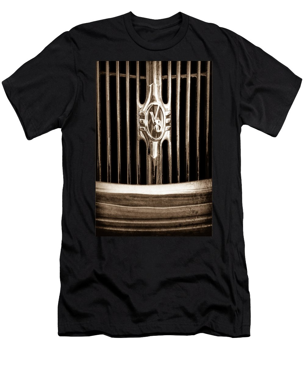 1936 Ford Phaeton Grille Emblem Men's T-Shirt (Athletic Fit) featuring the photograph 1936 Ford Phaeton Grille Emblem by Jill Reger