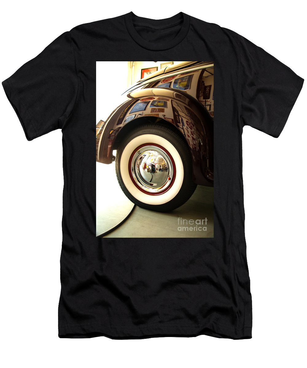 Classic 1940 Ford Fine Art Photography Photographs Men's T-Shirt (Athletic Fit) featuring the photograph Classic Maroon 1940 Ford Rear Fender And Wheel  by Jerry Cowart