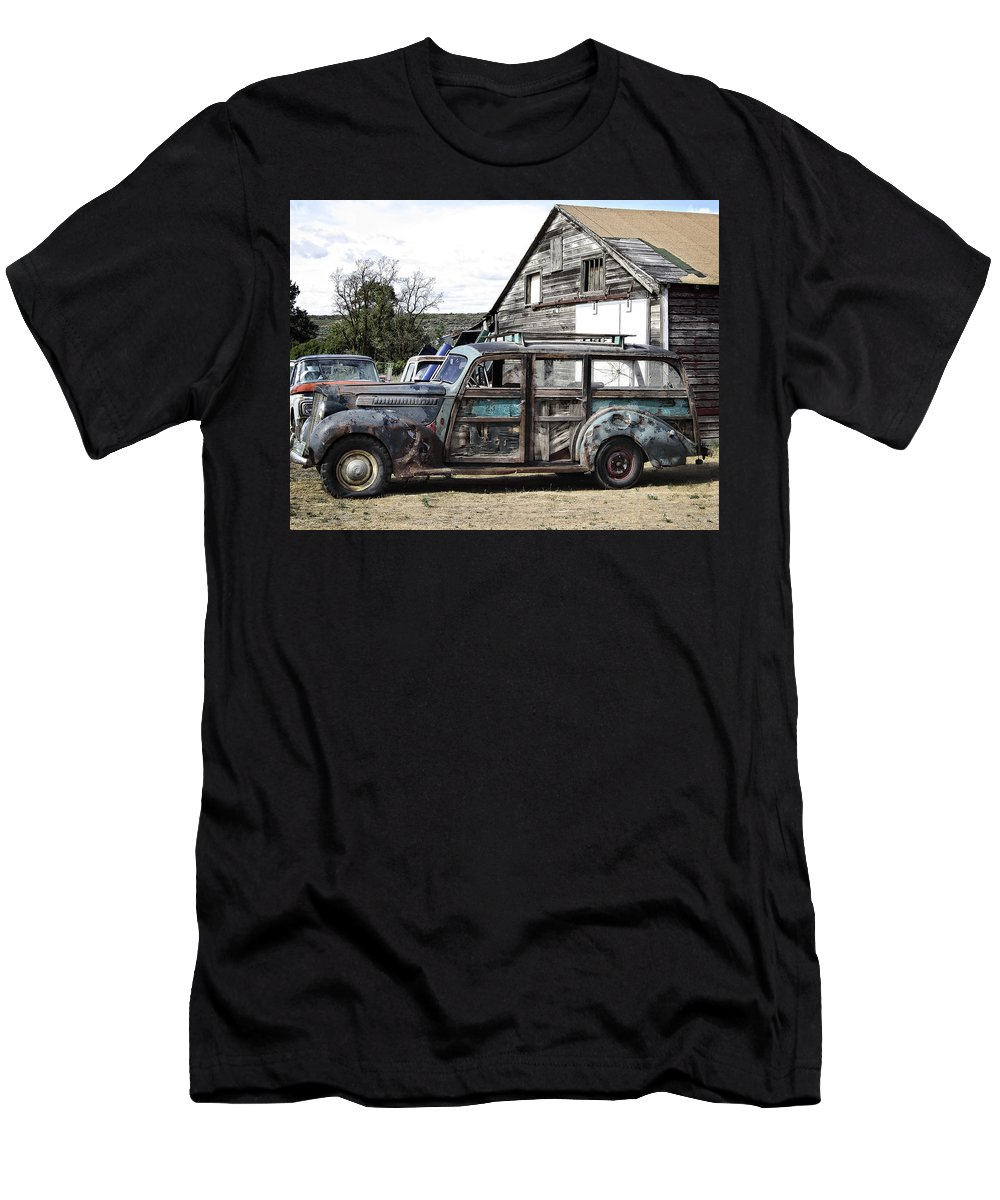 Woody Men's T-Shirt (Athletic Fit) featuring the photograph 1940s Era Packard Wood-panel Wagon by Daniel Hagerman