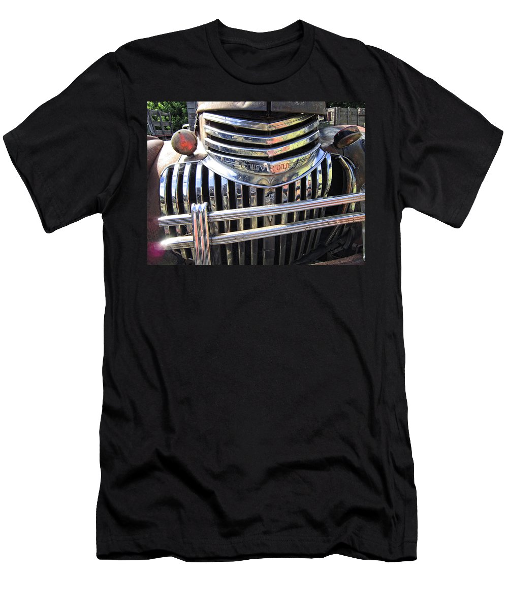 Chevy Men's T-Shirt (Athletic Fit) featuring the photograph 1946 Chevrolet Truck Chrome Grill by Daniel Hagerman